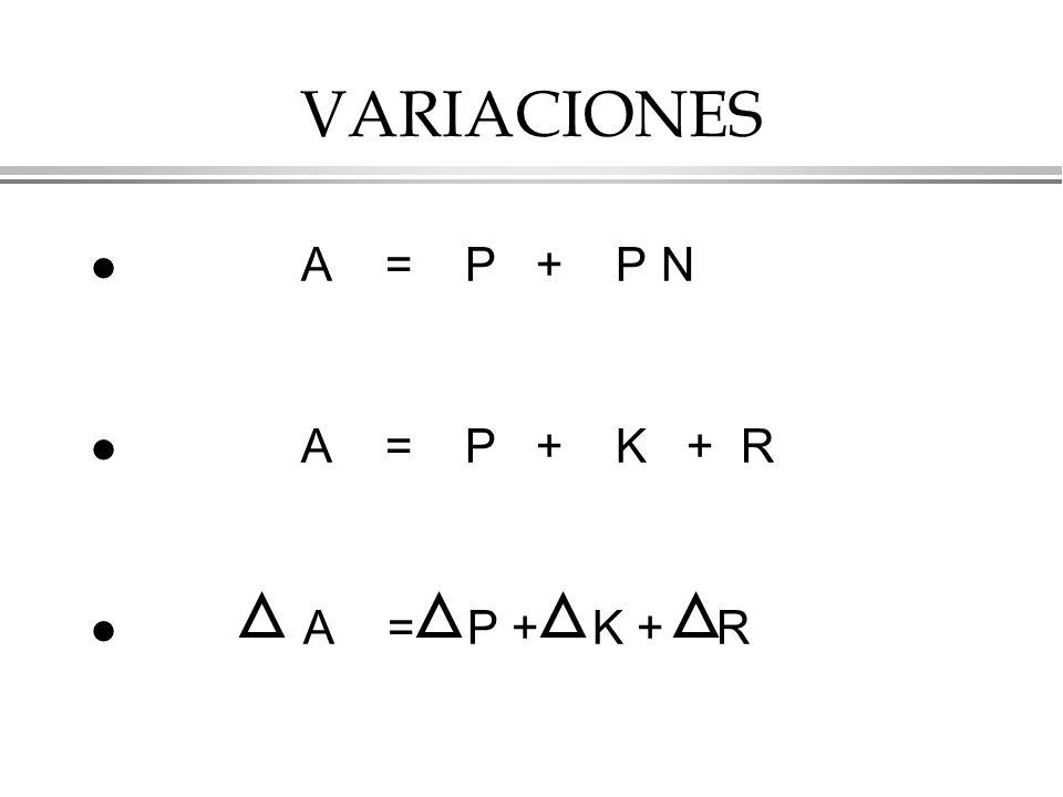 VARIACIONES A = P + P N A = P + K + R A = P + K + R