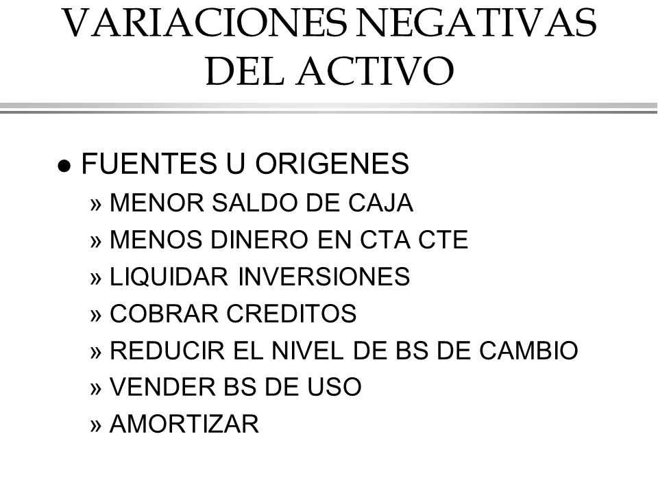 VARIACIONES NEGATIVAS DEL ACTIVO