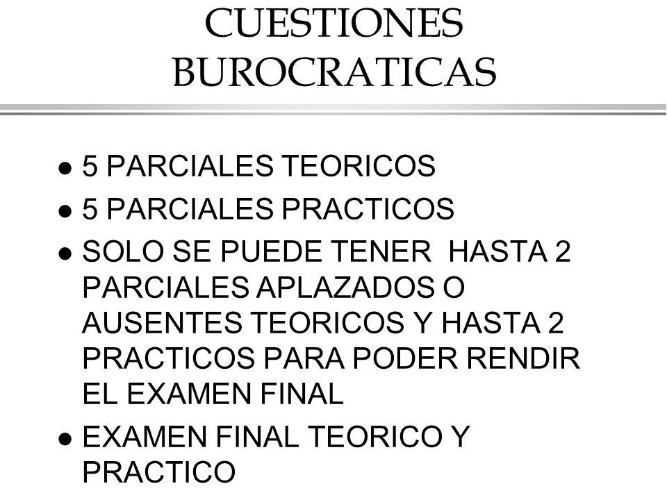 CUESTIONES BUROCRATICAS