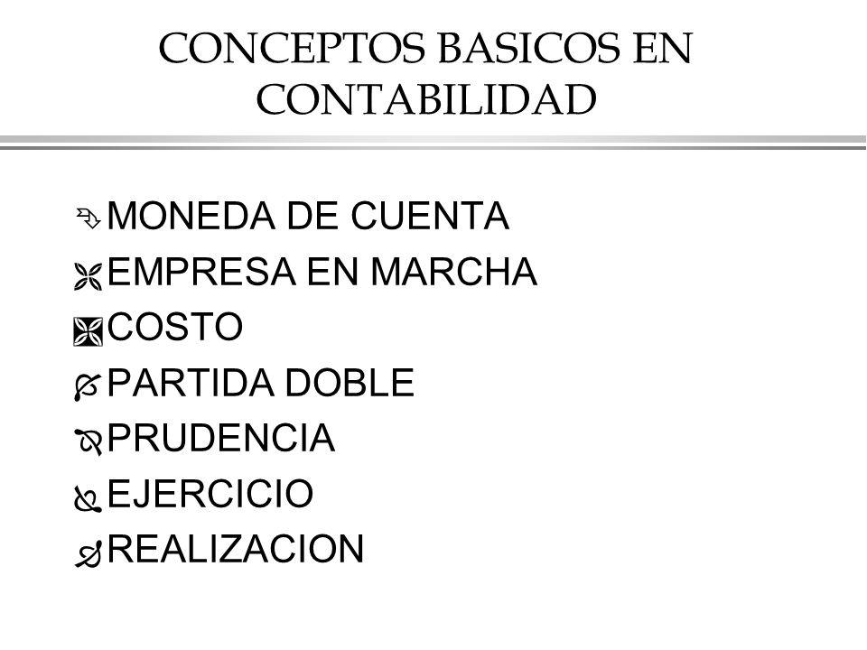 CONCEPTOS BASICOS EN CONTABILIDAD