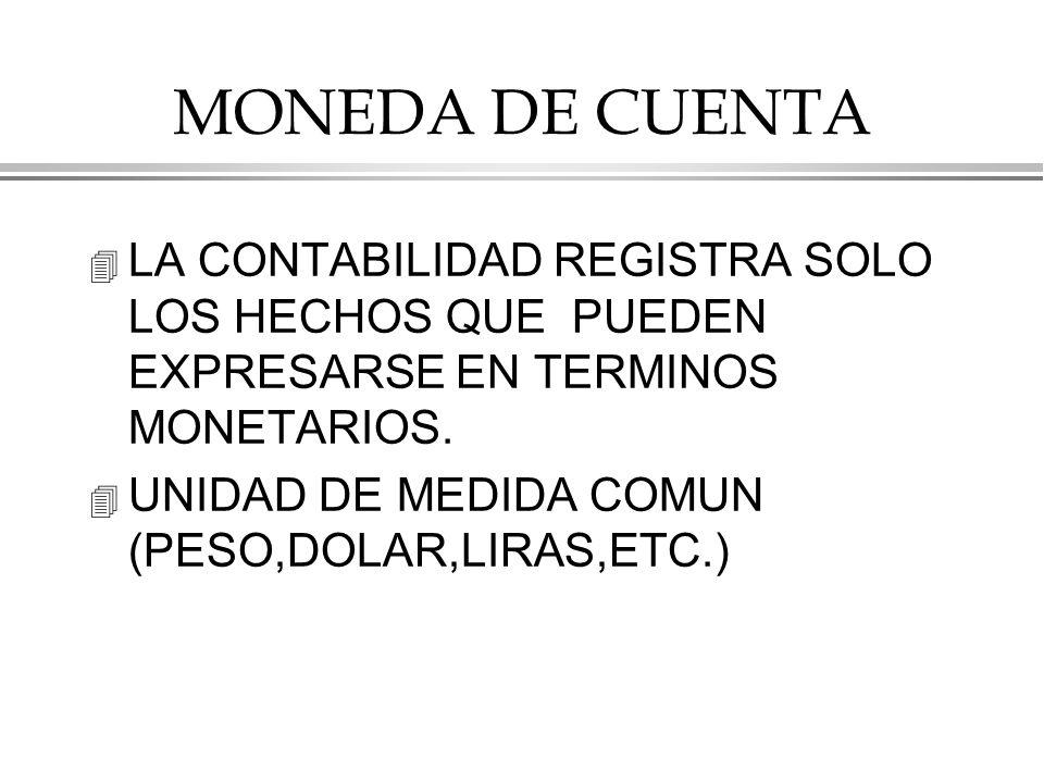 MONEDA DE CUENTA LA CONTABILIDAD REGISTRA SOLO LOS HECHOS QUE PUEDEN EXPRESARSE EN TERMINOS MONETARIOS.