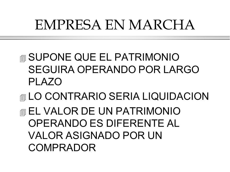 EMPRESA EN MARCHA SUPONE QUE EL PATRIMONIO SEGUIRA OPERANDO POR LARGO PLAZO. LO CONTRARIO SERIA LIQUIDACION.