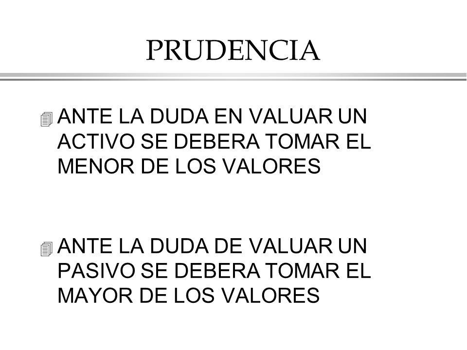 PRUDENCIA ANTE LA DUDA EN VALUAR UN ACTIVO SE DEBERA TOMAR EL MENOR DE LOS VALORES.