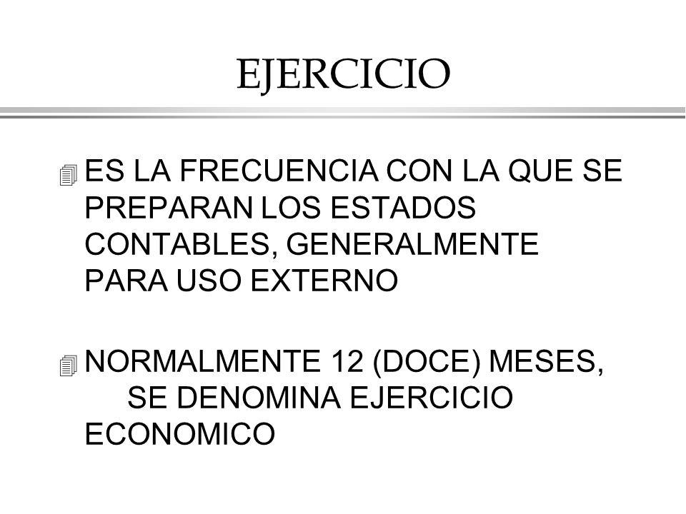 EJERCICIO ES LA FRECUENCIA CON LA QUE SE PREPARAN LOS ESTADOS CONTABLES, GENERALMENTE PARA USO EXTERNO.