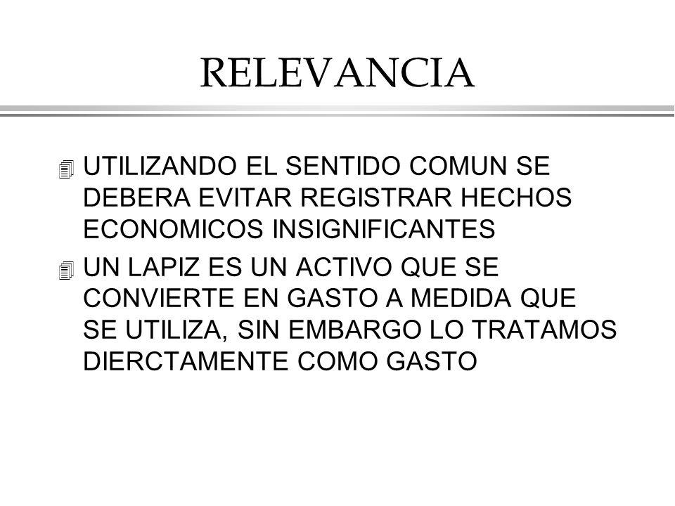 RELEVANCIA UTILIZANDO EL SENTIDO COMUN SE DEBERA EVITAR REGISTRAR HECHOS ECONOMICOS INSIGNIFICANTES.