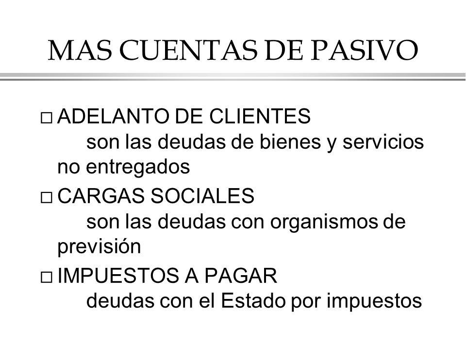 MAS CUENTAS DE PASIVO ADELANTO DE CLIENTES son las deudas de bienes y servicios no entregados.