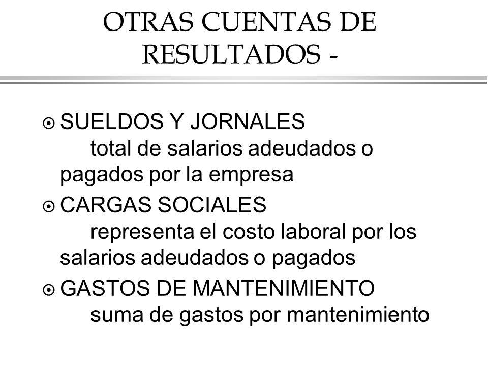 OTRAS CUENTAS DE RESULTADOS -