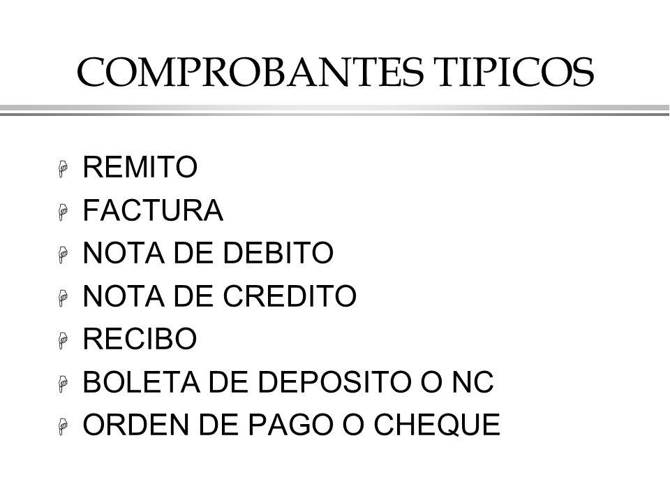 COMPROBANTES TIPICOS REMITO FACTURA NOTA DE DEBITO NOTA DE CREDITO