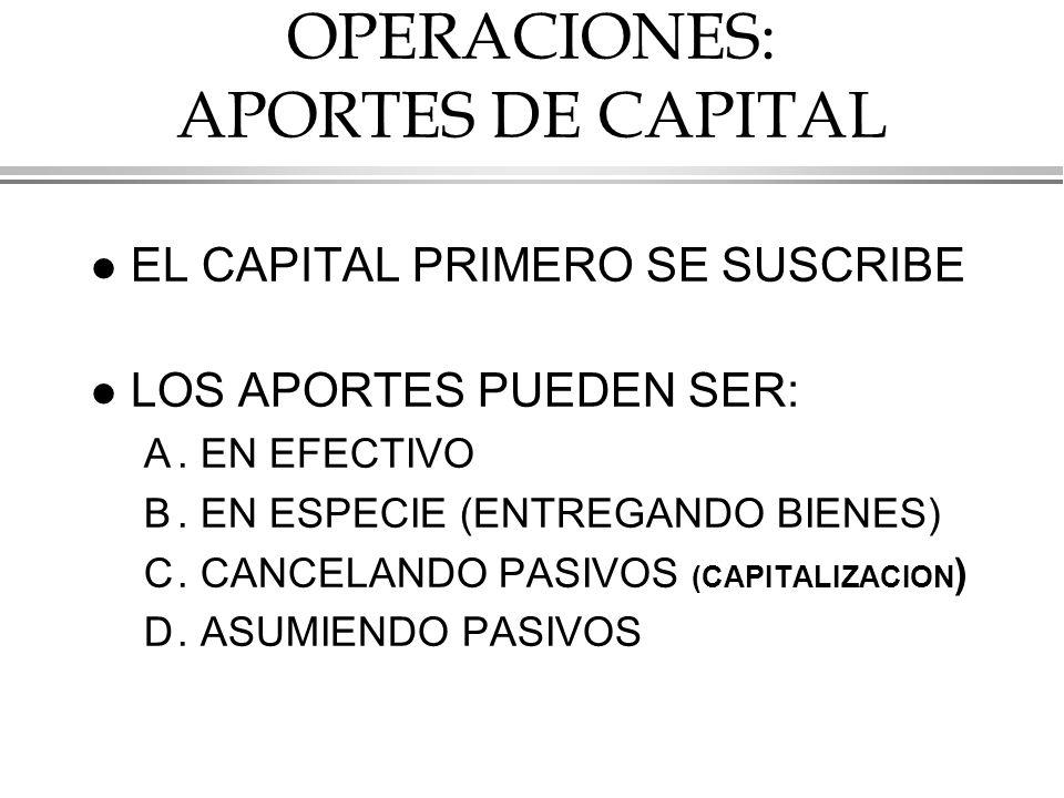 OPERACIONES: APORTES DE CAPITAL