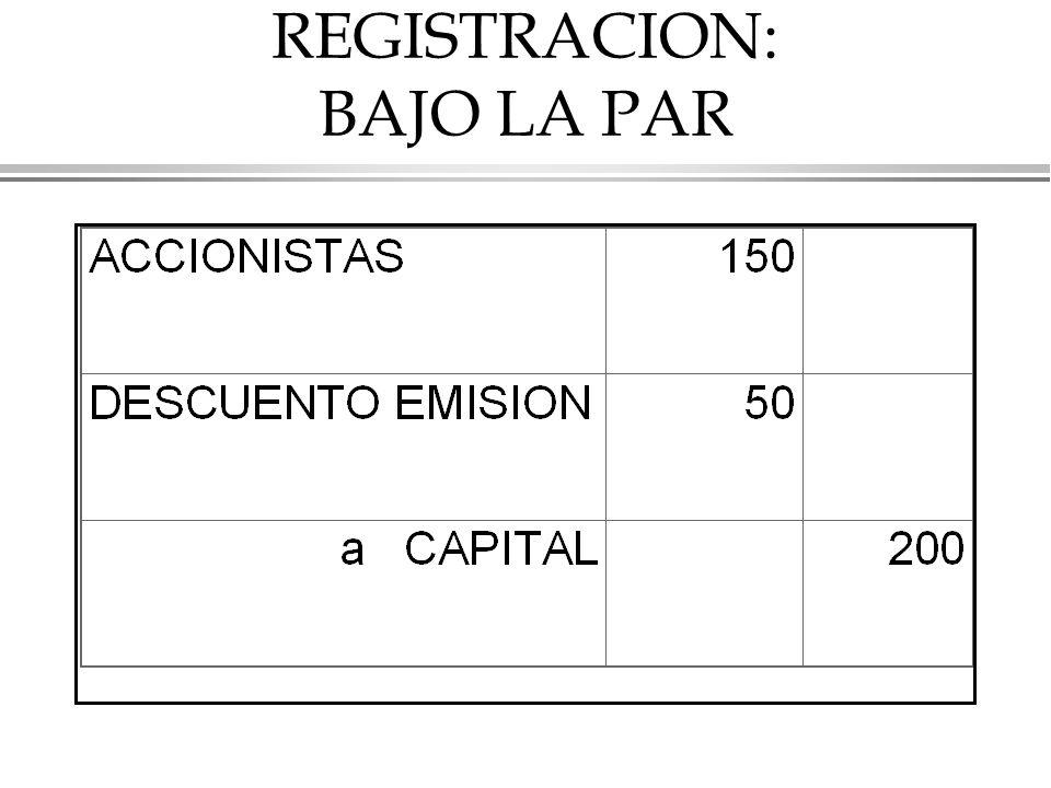 REGISTRACION: BAJO LA PAR