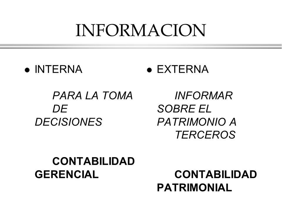 INFORMACION INTERNA PARA LA TOMA DE DECISIONES CONTABILIDAD GERENCIAL