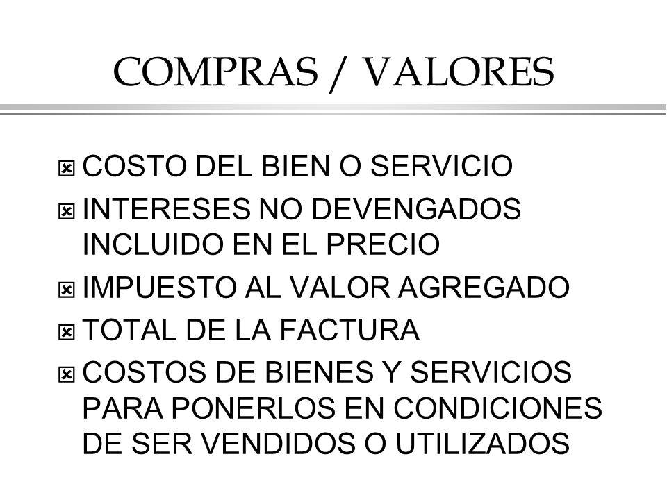 COMPRAS / VALORES COSTO DEL BIEN O SERVICIO