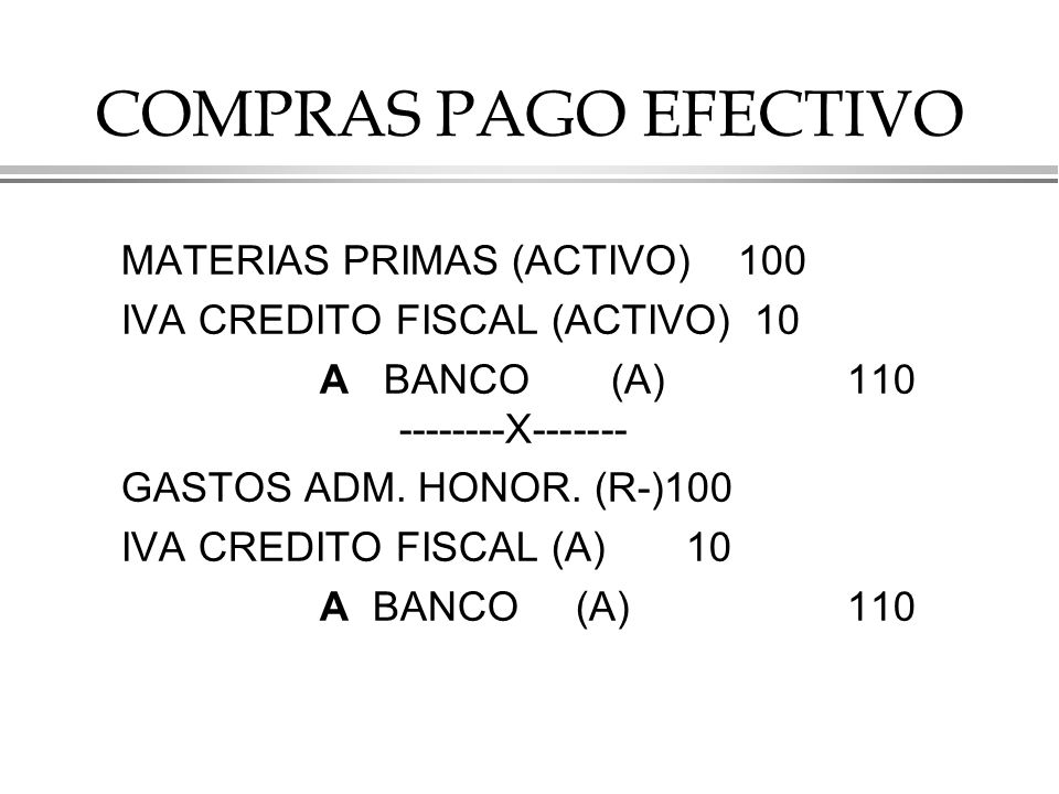 COMPRAS PAGO EFECTIVO MATERIAS PRIMAS (ACTIVO) 100