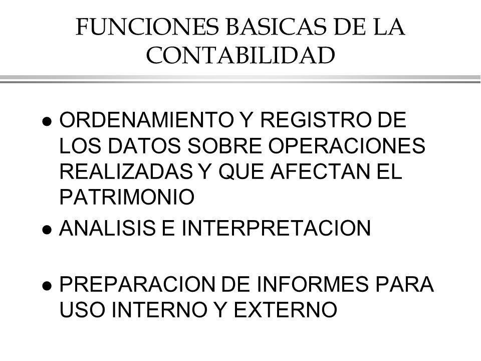 FUNCIONES BASICAS DE LA CONTABILIDAD
