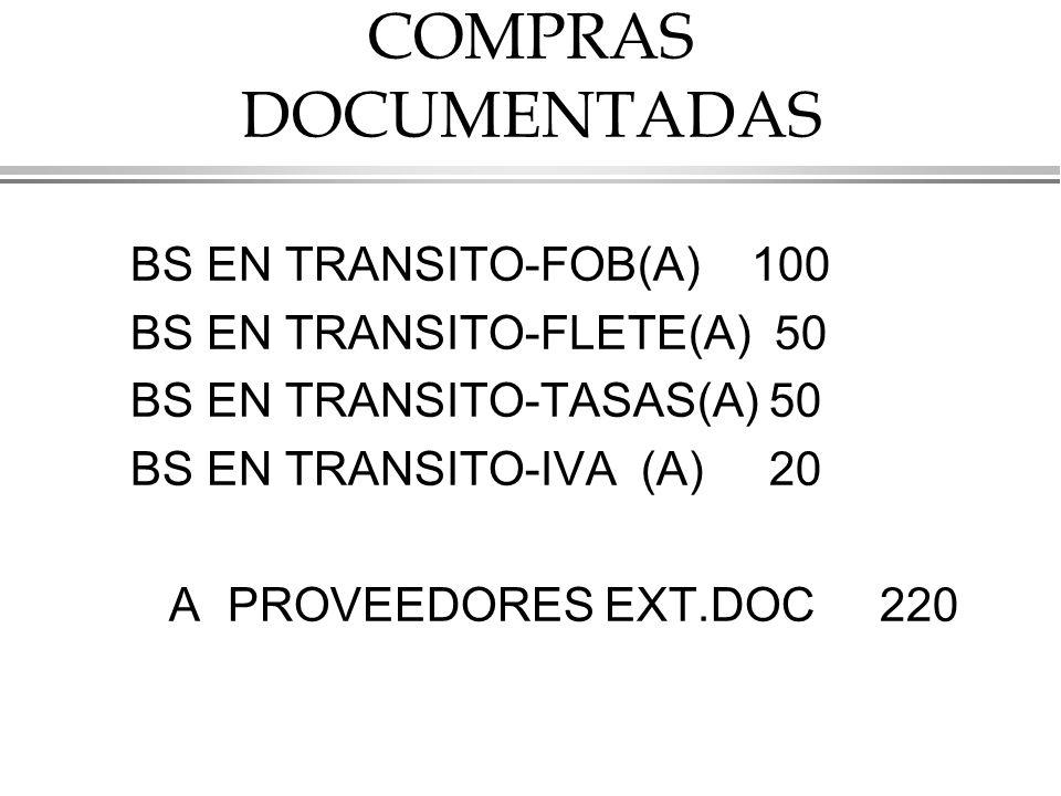 COMPRAS DOCUMENTADAS BS EN TRANSITO-FOB(A) 100