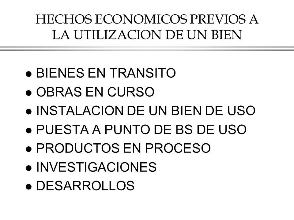 HECHOS ECONOMICOS PREVIOS A LA UTILIZACION DE UN BIEN