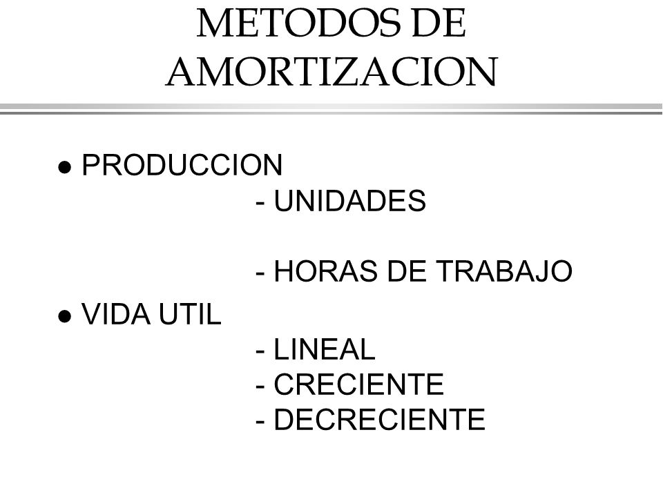 METODOS DE AMORTIZACION