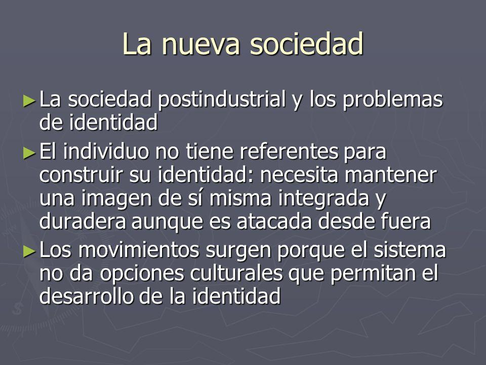 La nueva sociedad La sociedad postindustrial y los problemas de identidad.