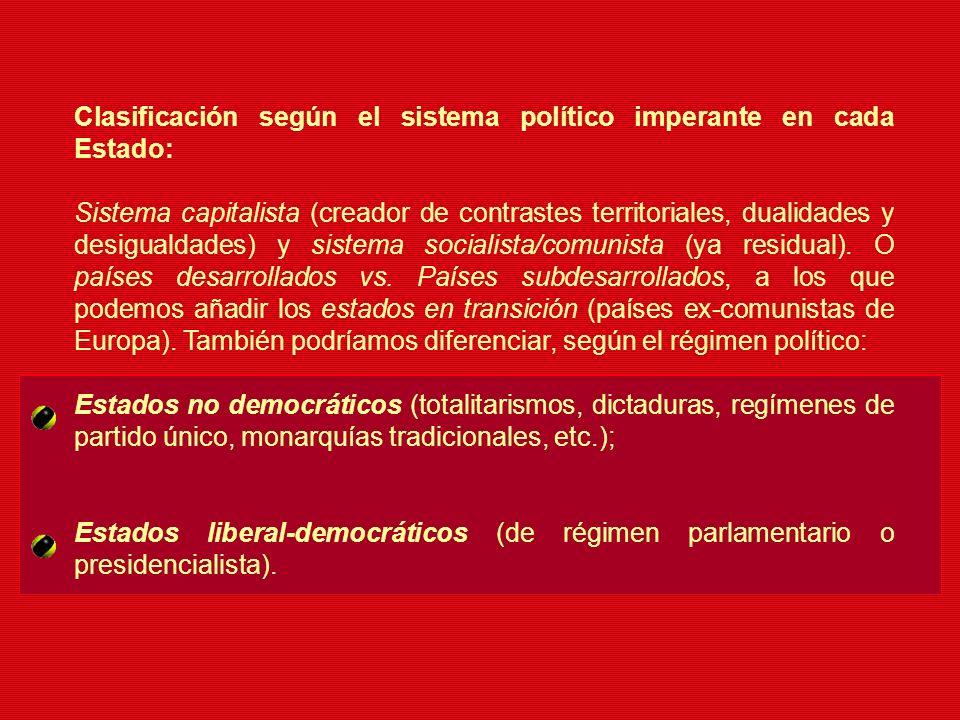 Clasificación según el sistema político imperante en cada Estado: