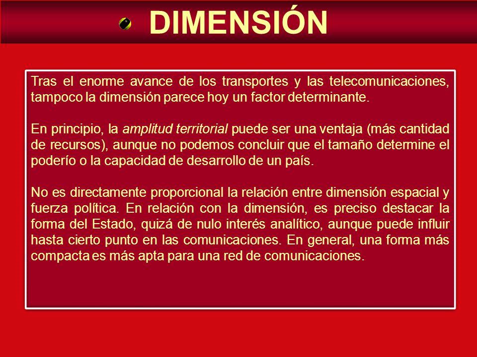 DIMENSIÓNTras el enorme avance de los transportes y las telecomunicaciones, tampoco la dimensión parece hoy un factor determinante.
