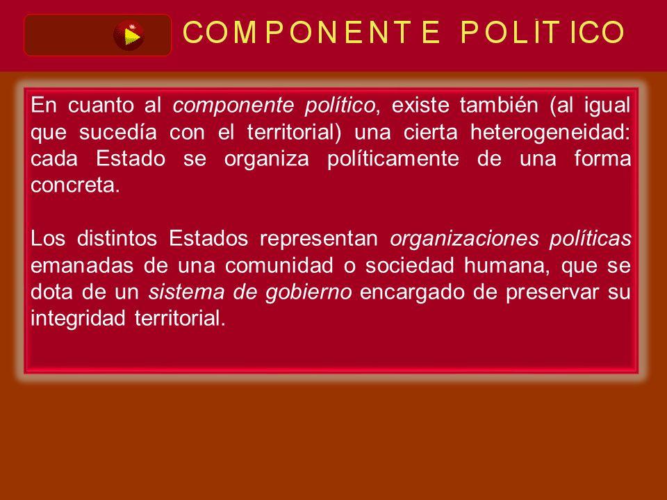 En cuanto al componente político, existe también (al igual que sucedía con el territorial) una cierta heterogeneidad: cada Estado se organiza políticamente de una forma concreta.