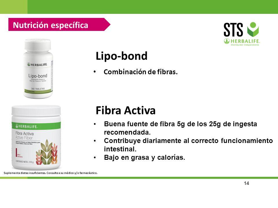 Lipo-bond Fibra Activa Nutrición específica Combinación de fibras.