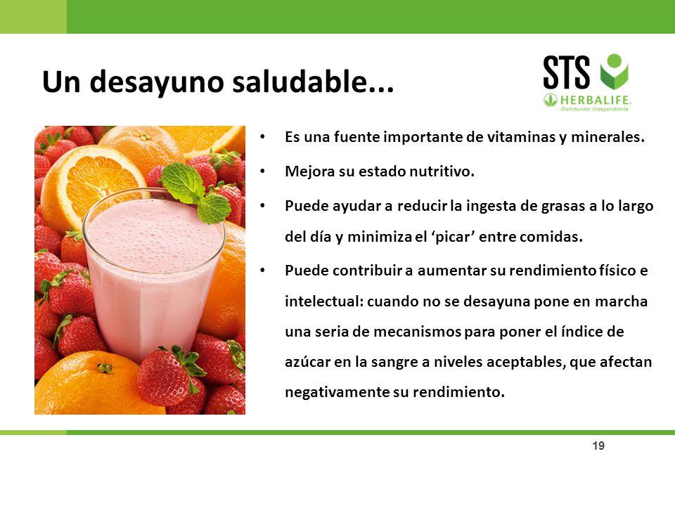 Un desayuno saludable... Es una fuente importante de vitaminas y minerales. Mejora su estado nutritivo.