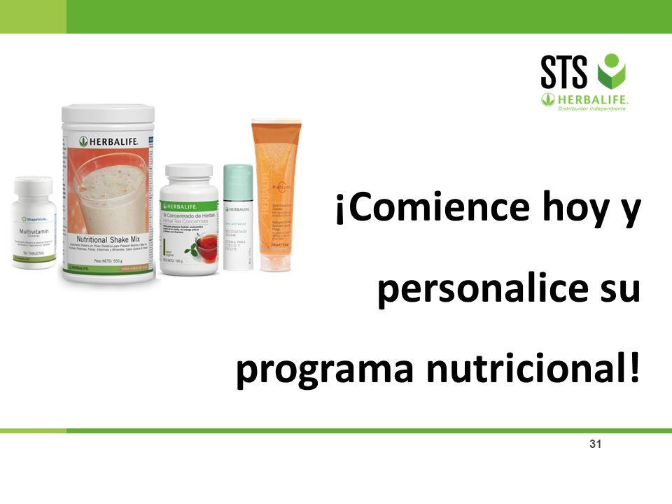 ¡Comience hoy y personalice su programa nutricional!