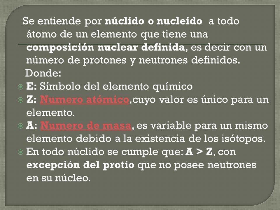 Se entiende por núclido o nucleido a todo átomo de un elemento que tiene una composición nuclear definida, es decir con un número de protones y neutrones definidos.