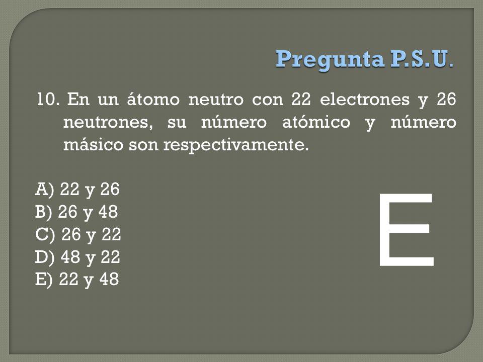Pregunta P.S.U. 10. En un átomo neutro con 22 electrones y 26 neutrones, su número atómico y número másico son respectivamente.