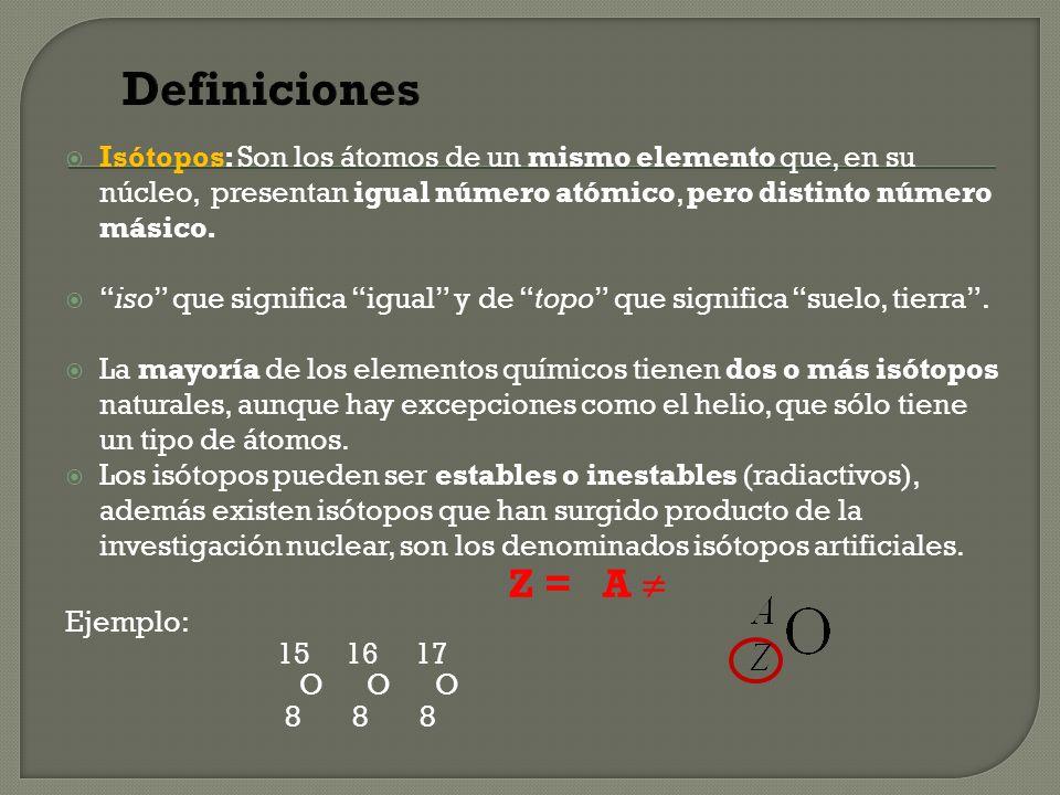 Definiciones Isótopos: Son los átomos de un mismo elemento que, en su núcleo, presentan igual número atómico, pero distinto número másico.