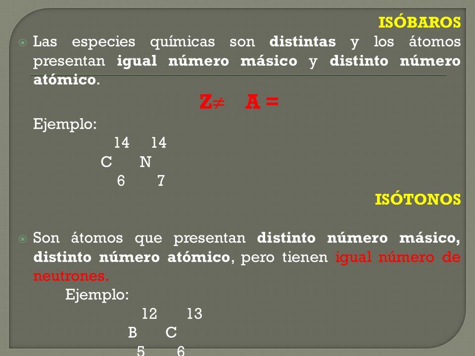 ISÓBAROS Las especies químicas son distintas y los átomos presentan igual número másico y distinto número atómico.