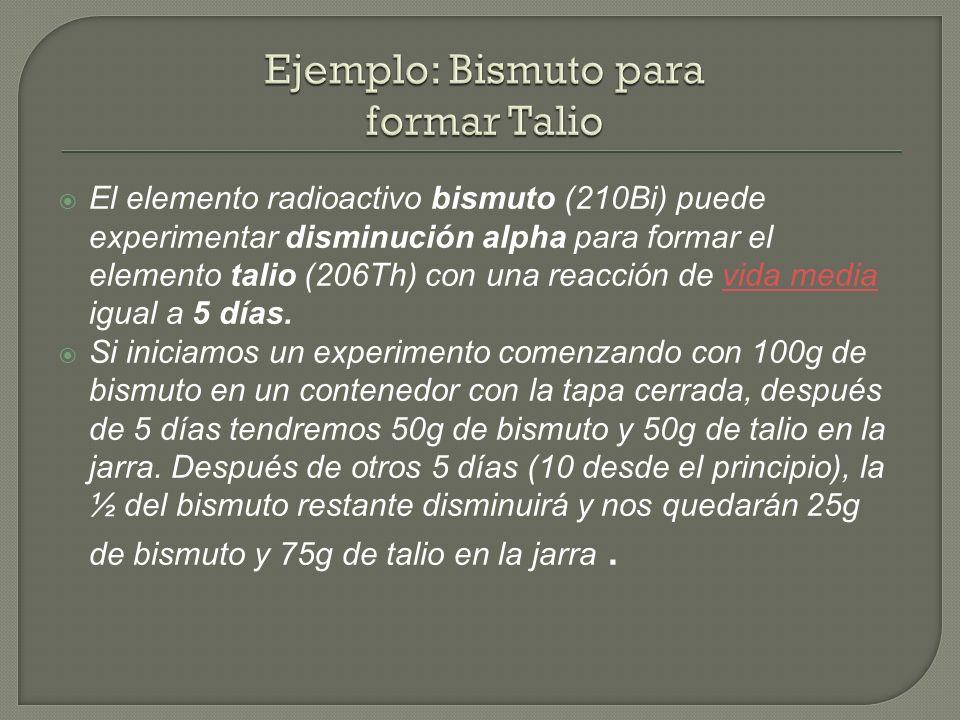 Ejemplo: Bismuto para formar Talio