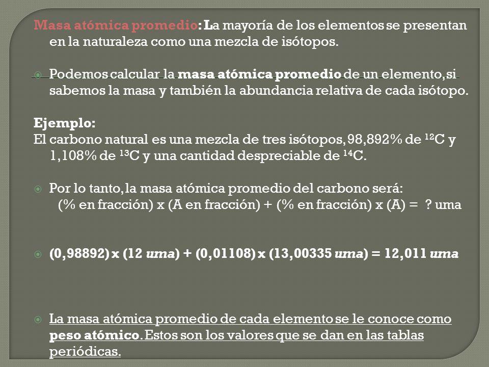 Masa atómica promedio: La mayoría de los elementos se presentan en la naturaleza como una mezcla de isótopos.
