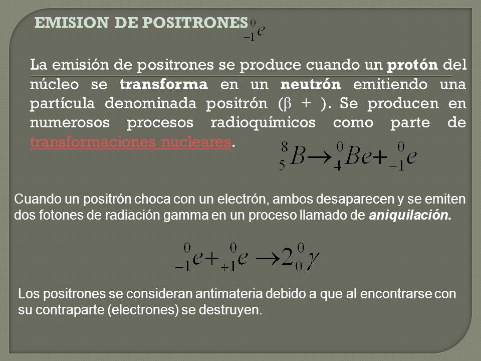 EMISION DE POSITRONES La emisión de positrones se produce cuando un protón del núcleo se transforma en un neutrón emitiendo una partícula denominada positrón (β + ). Se producen en numerosos procesos radioquímicos como parte de transformaciones nucleares.