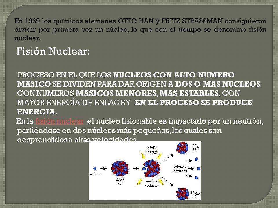 En 1939 los químicos alemanes OTTO HAN y FRITZ STRASSMAN consiguieron dividir por primera vez un núcleo, lo que con el tiempo se denomino fisión nuclear.