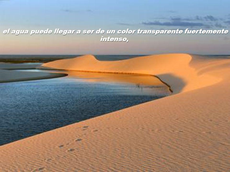 el agua puede llegar a ser de un color transparente fuertemente intenso,