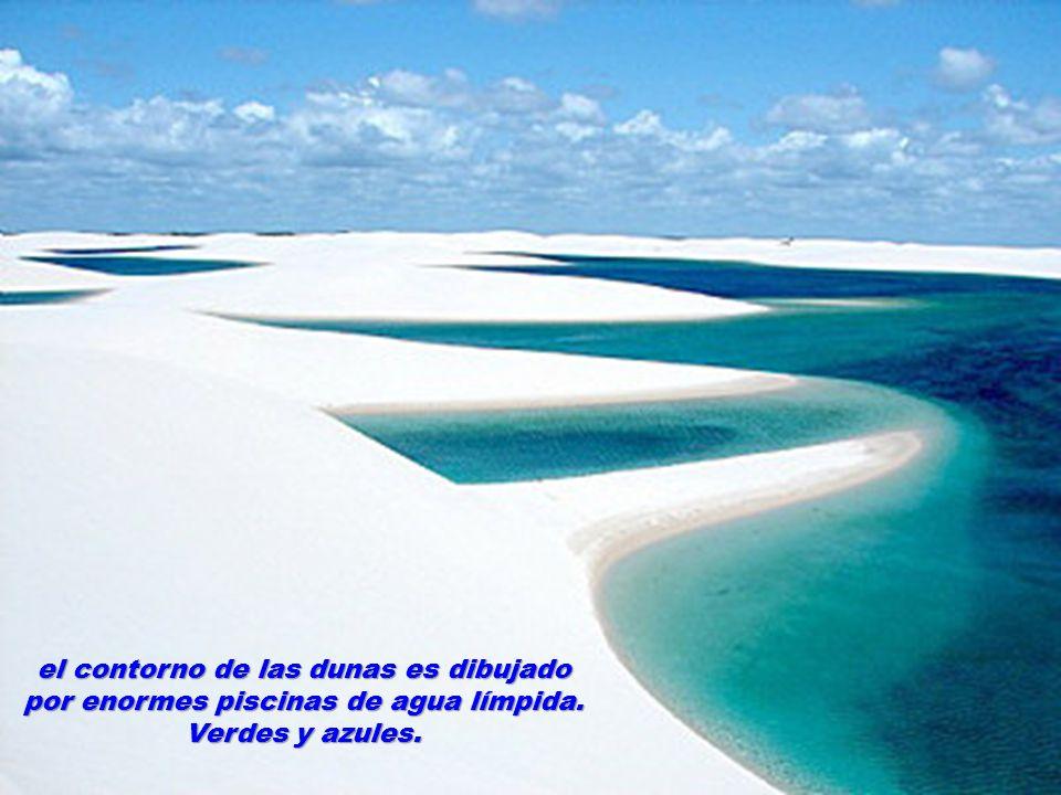 el contorno de las dunas es dibujado por enormes piscinas de agua límpida. Verdes y azules.