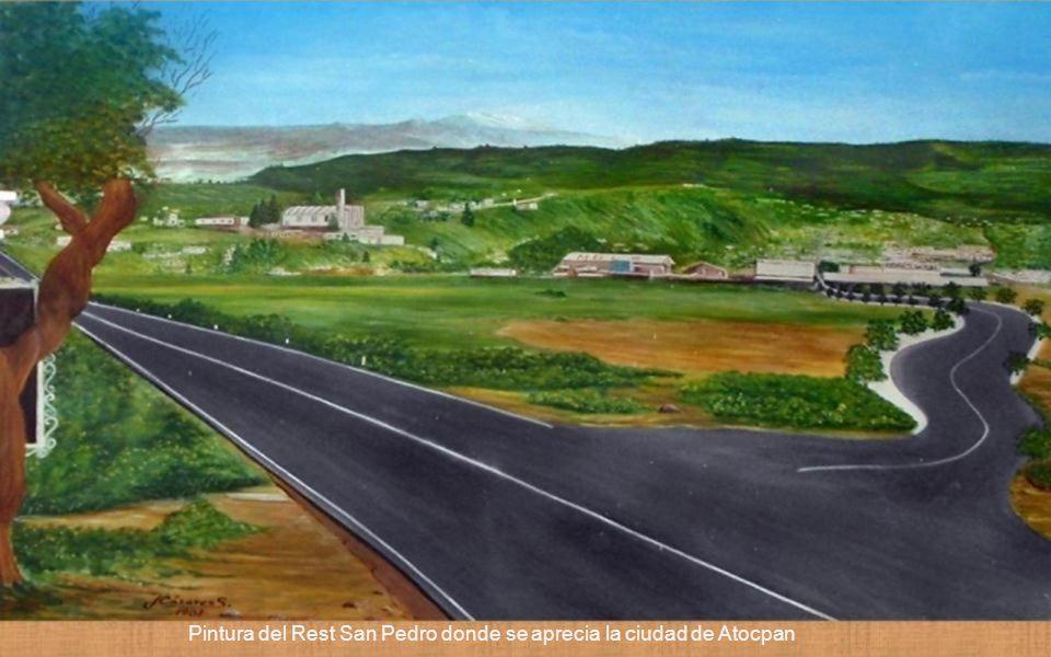 Pintura del Rest San Pedro donde se aprecia la ciudad de Atocpan