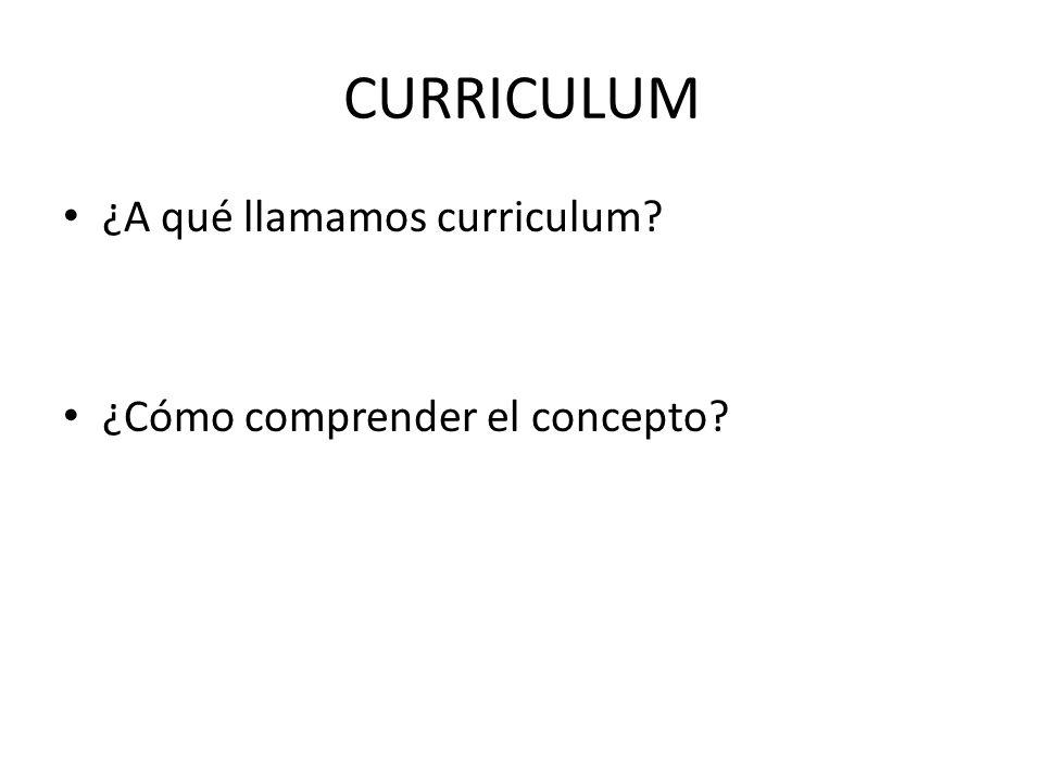 CURRICULUM ¿A qué llamamos curriculum ¿Cómo comprender el concepto