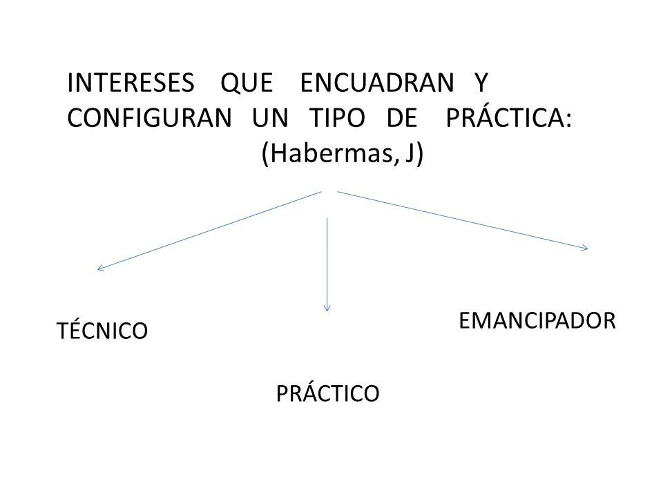 INTERESES QUE ENCUADRAN Y CONFIGURAN UN TIPO DE PRÁCTICA: