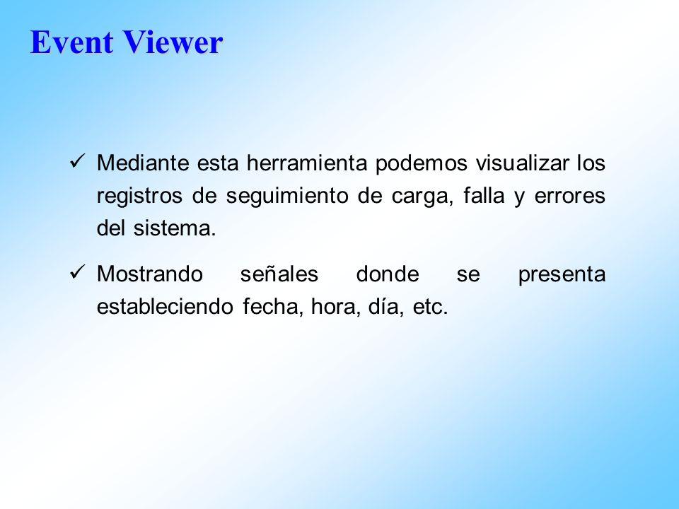 Event Viewer Mediante esta herramienta podemos visualizar los registros de seguimiento de carga, falla y errores del sistema.