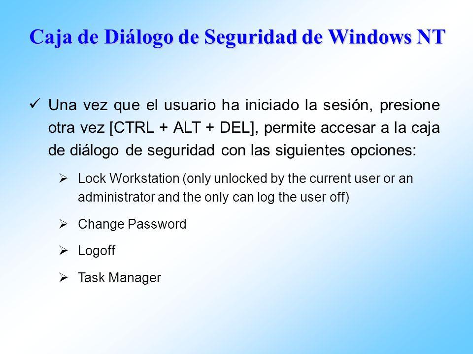 Caja de Diálogo de Seguridad de Windows NT