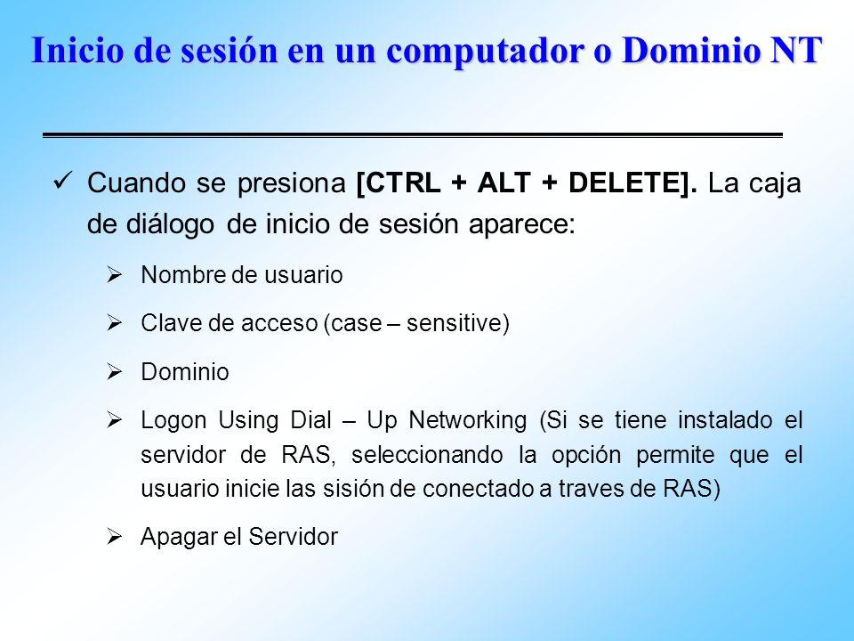 Inicio de sesión en un computador o Dominio NT