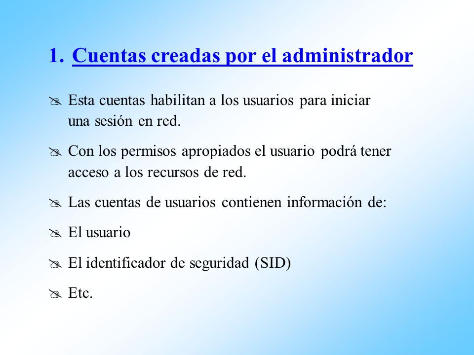 Cuentas creadas por el administrador
