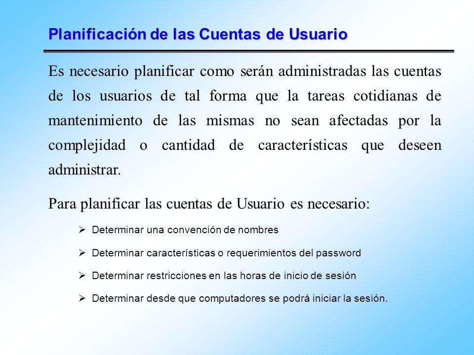 Planificación de las Cuentas de Usuario