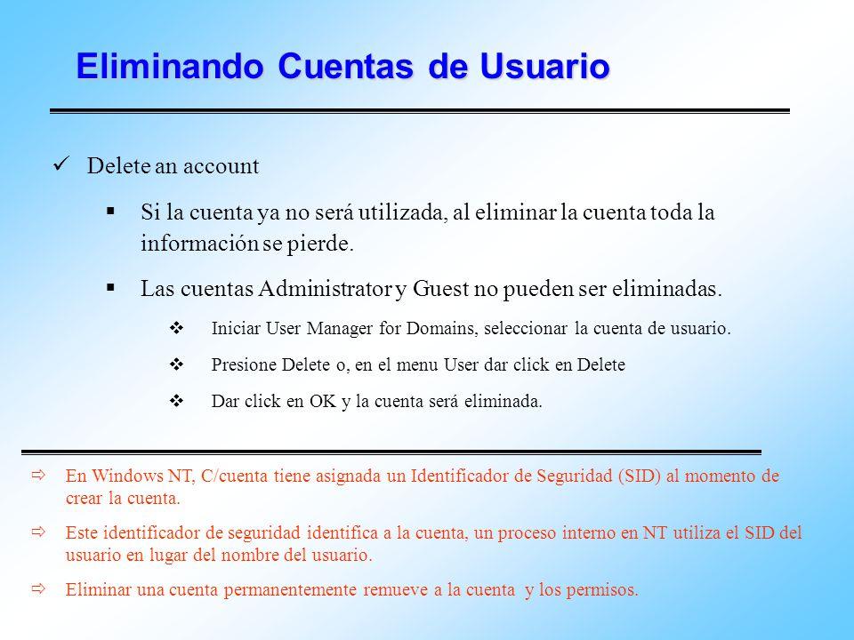 Eliminando Cuentas de Usuario