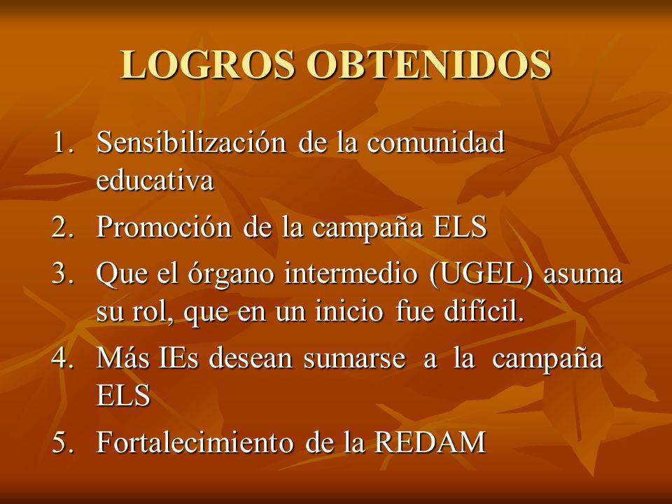 LOGROS OBTENIDOS Sensibilización de la comunidad educativa