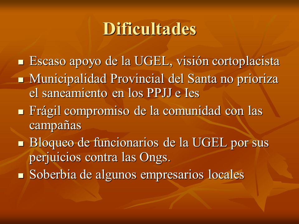 Dificultades Escaso apoyo de la UGEL, visión cortoplacista
