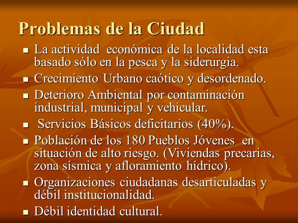 Problemas de la Ciudad La actividad económica de la localidad esta basado sólo en la pesca y la siderurgia.